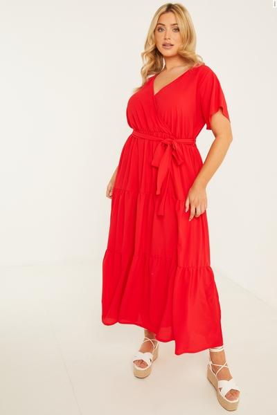 Curve Red Wrap Midaxi Dress
